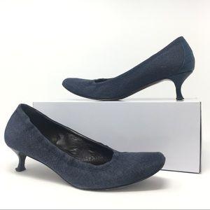 Donald J Pliner Seana blue denim kitten heels 9.5